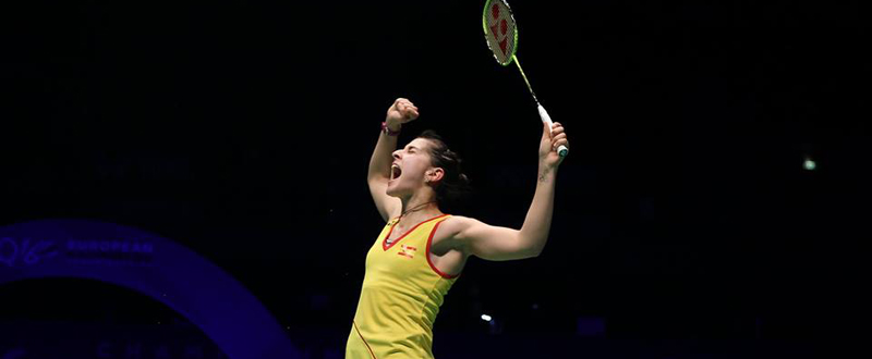 Carolina Marín celebra su segundo título europeo. Fuente: badminton Europe