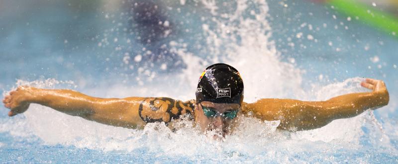 El nadador valenciano David Levecq durante una competición. Fuente: CPE