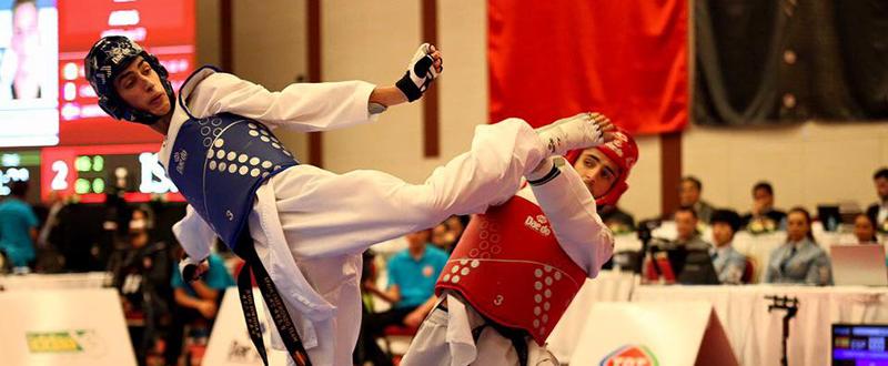 El taekwondista español, Jesús Tortosa, durante un combate. Fuente: Escuela Taekwondo Jesús Tortosa