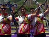 El equipo español de recurvo, bronce en Medellín