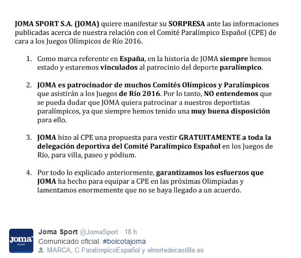 Comunicado de Joma en Twitter.