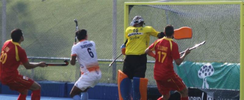 Partido contra la India disputado en el Club Campo Villa de Madrid. Fuente: RFEH