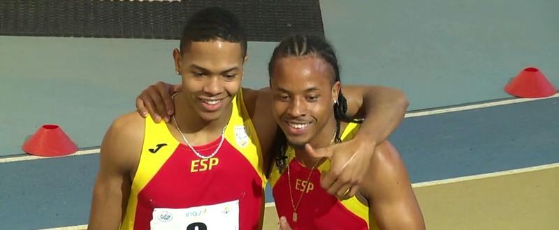 Los hermanos Deliber y Dionibel Rodríguez tras una prueba de los 400 metros lisos. Fuente: AD