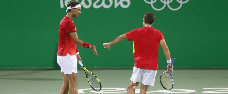 Rafa Nadal y Marc López Fuente:EFE