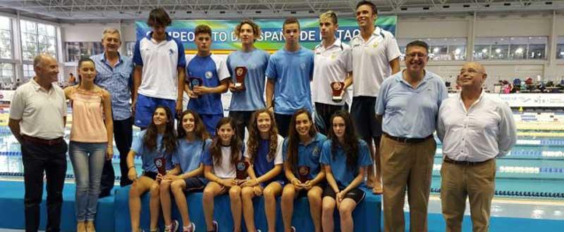 Gredos y Sabadell como ganadores de clubes en el campeonato de España infantil de natación. Foto: FAN