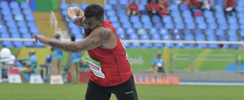 El atleta valenciano, Kim López, logra la medalla de bronce en lanzamiento de peso en el Mundial de Londres. Fuente: CPE