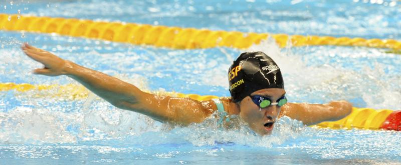 La española Sarai Gascón logra la medalla de plata en 100 mariposa en los Juegos Paralímpicos de Río. Fuente: CPE