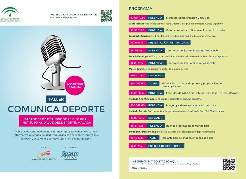 Programa I Jornada Comunica Deporte. Fuente: JA