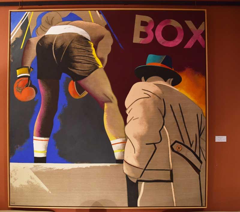 """""""Campeón"""", de Eduardo Arroyo. Acrílico sobre lienzo; 200x200 cm, adquisición de 2001. Fuente: CSD"""