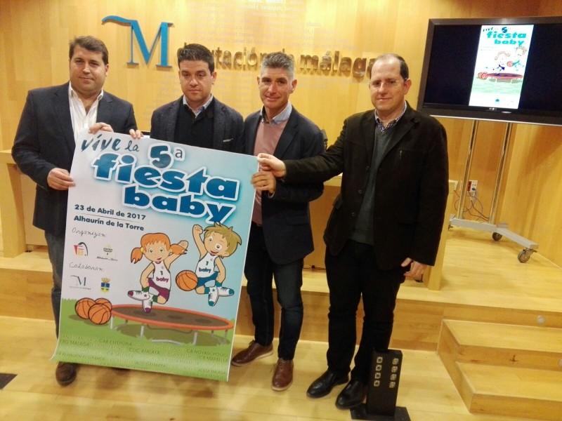 De izquierda a derecha: Juan Pedro Parra, Cristóbal Ortega, Prudencio Ruiz y Ricardo Bandrés, en la presentación de la 5ª Fiesta Babybasket. Fuente: Avance Deportivo.