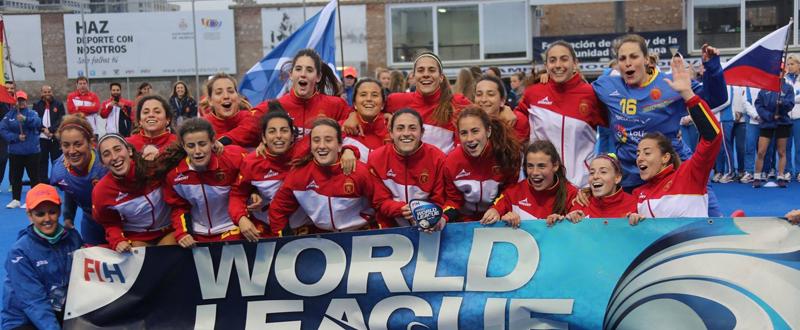 La selección española de hockey hierba, campeona de la World League en Valencia. Fuente: Oscar Matheu