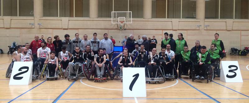 Los tres equipos participantes en el primer campeonato de España de rugby en silla. Fuente: AD