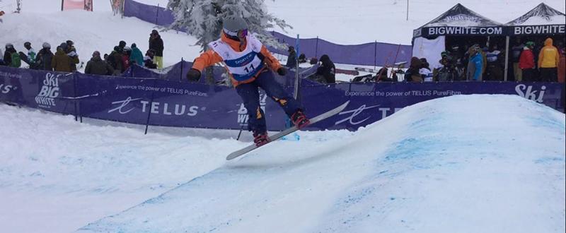 La rider paralímpica Astrid Fina, durante el Mundial de snowboard en Canadá. Fuente: AD