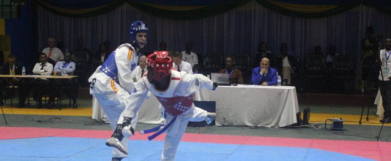 El canario Aythami Santana durante la final del Open de África. Fuente: TaekwondoRwa