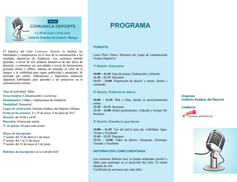 Programa Comunica Deporte. Fuente: IAD