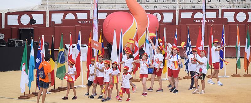 Delegación española desfilando en la ceremonia inaugural de los Juegos Mundiales de Trasplantados en Málaga. Fuente: LPT