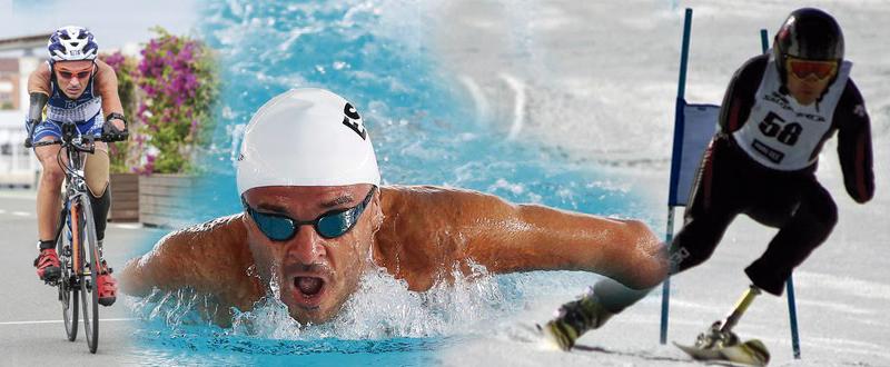 El deportista valenciano Ricardo Ten en las disciplinas de ciclismo, natación y esquí alpino. Fuente: AD
