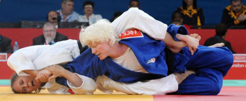 La judoka española, Marta Arce, durante uno de sus combates en los Juegos Paralímpicos de Londres 2012. Fuente: CPE