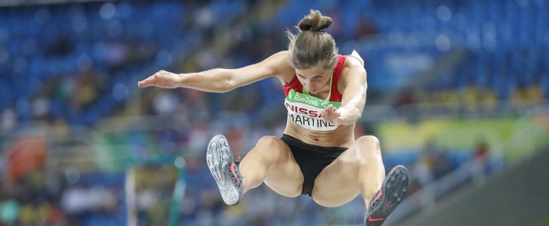La atleta Sara Martínez durante la competición de salto de longitud. Fuente: CPE