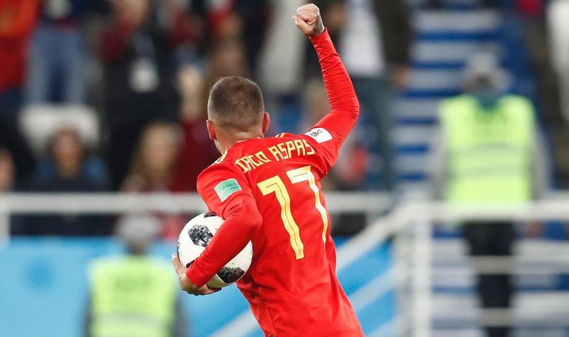 Aspas celebra el gol. Fuente: Rfef