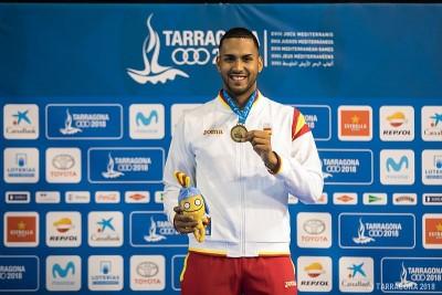 Yulen Pereira con el oro en los Juegos Mediterráneos. Fuente. AD