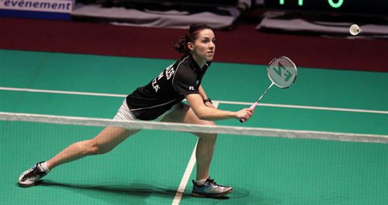 La jugadora española de bádminton, Beatriz Corrales, durante un partido. Fuente: Bádminton Europe