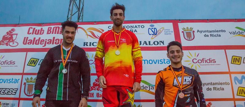 El podio del campeonato de España de BMX, con Gustavo Alcojor como campeón. Fuente: RFEC