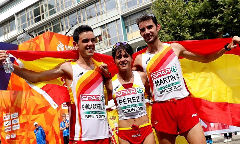 Álvaro Martín, María Pérez y Diego García. EFE/FELIPE TRUEBA