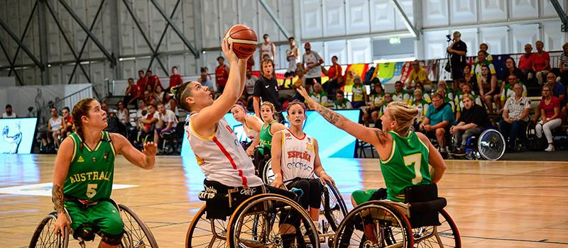Australia vs España en cuartos del Mundial de Baloncesto en Silla de Ruedas. Fuente: CPE