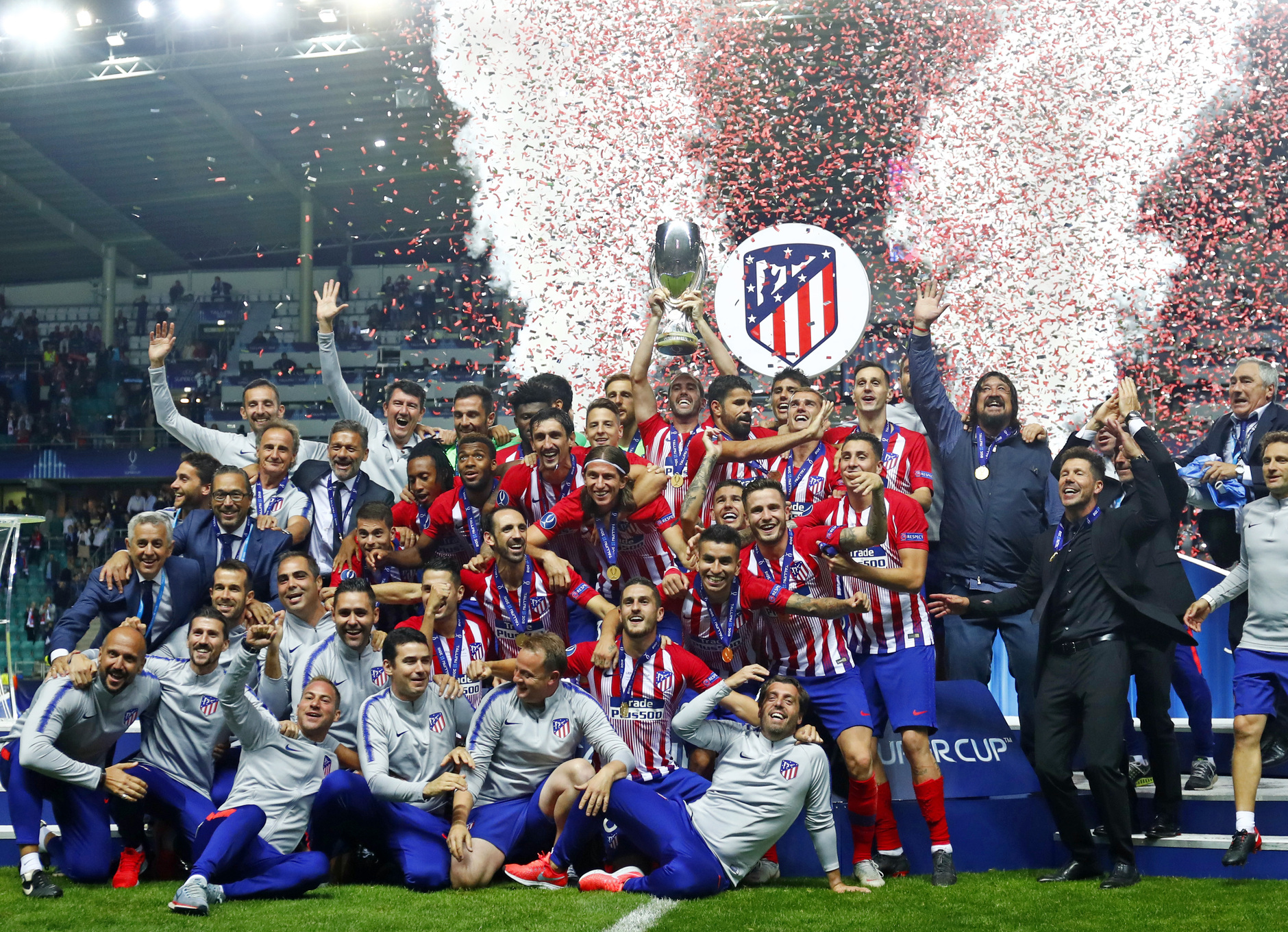 El Atlético de Madrid celebrando la Supercopa de Europa 2018. Fuente: Atlético de Madrid.