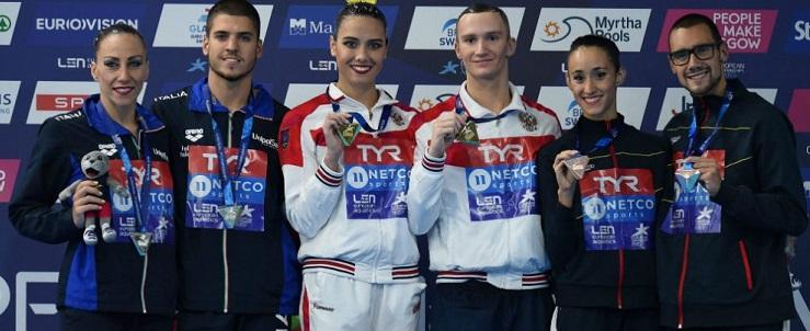 España gana el bronce en el dúo mixto de natación artística en Glasgow. Fuente: rfen