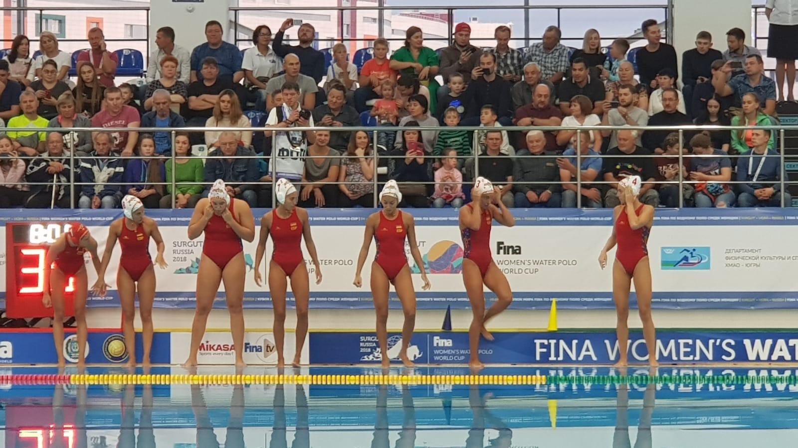 España durante el mundial femenino de waterpolo. Fuente: rfen