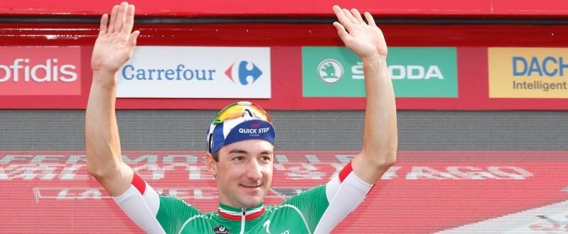 Viviani sube por segunda vez al podio de La Vuelta '18 como ganador de etapa.