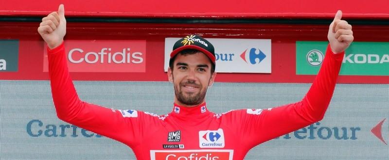 Jesús Herrada vistiendo por primera vez el maillot de líder en La Vuelta. (Fuente: ©Photogomez Sport)