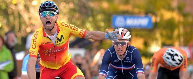 Alejandro Valverde cruza eufórico la línea de meta