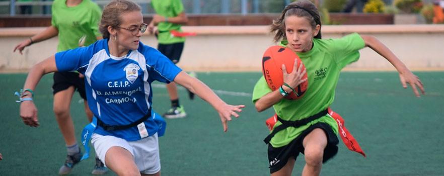 Partido rugby tag en Olimpiada Escolar Andaluza 2018. Fuente: Avance Deportivo