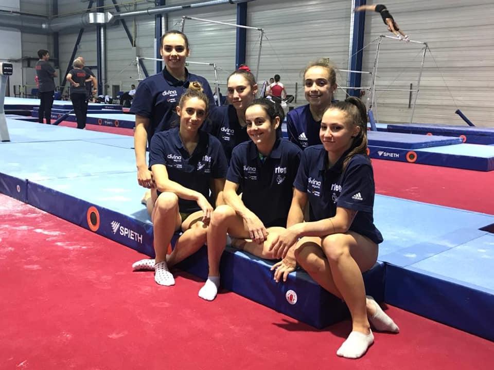 La selección femenina de gimnasia rítmica. Fuente: Rfeg