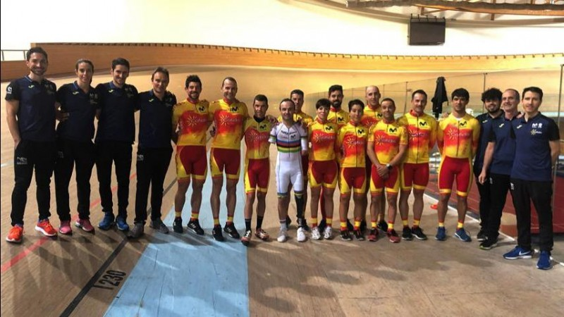 Equipo español de ciclismo paralímpico en pista. Fuente: CPE