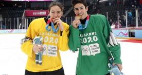 Eva Aizpurua y Pablo González, oro en hockey hielo 3x3 mixto