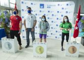 Anastasiya Dmytriv, Enrique Alhambra y Nahia Zudaire, podio en Valdemoro