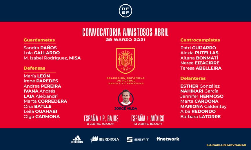 Convocatoria selección española de fútbol femenino. Fuente: RFEF