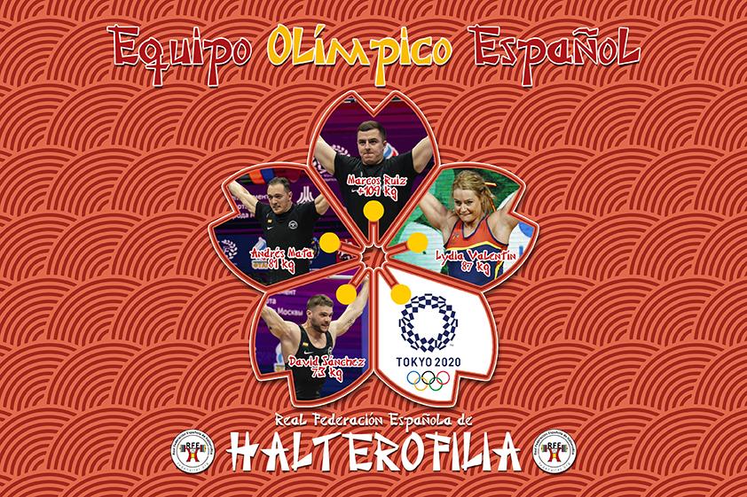 Equipo español de halterofilia para Tokio 2020. Fuente: FEH