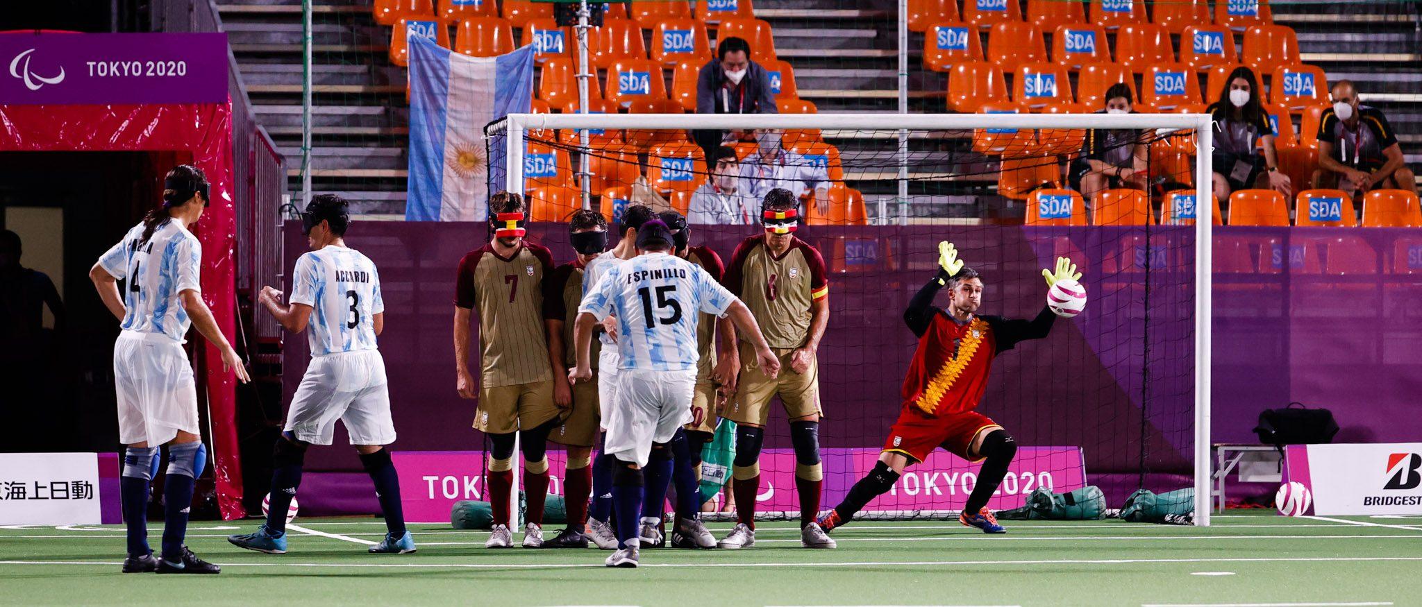 España vs Argentina en fútbol 5. Fuente: CPE