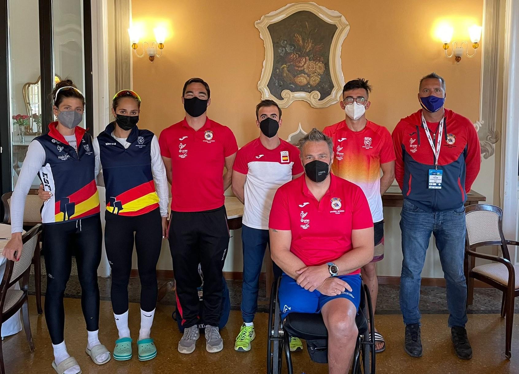 Parte del equipo español en Varese. Fuente: Federación Andaluza de Remo