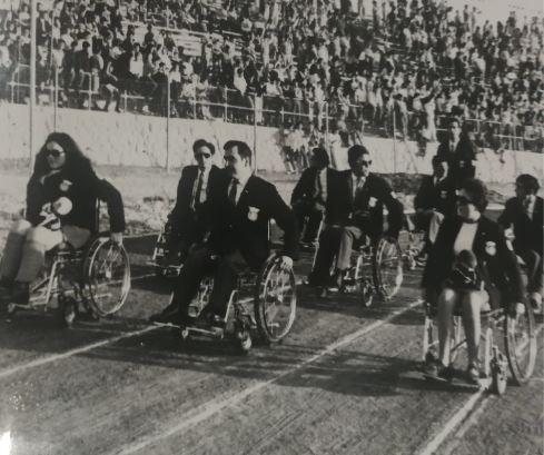 Carmen Riu, a la izquierda, con el equipo español en Tel Aviv 68. Fuente: DXTadaptado.com